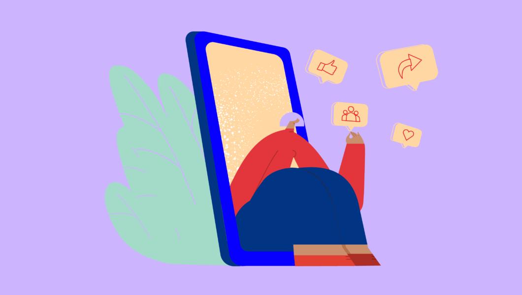 ilustracja, fioletowo tło, osoba w czerwonym świetle siedzi na wpół w telefonie komórkowym