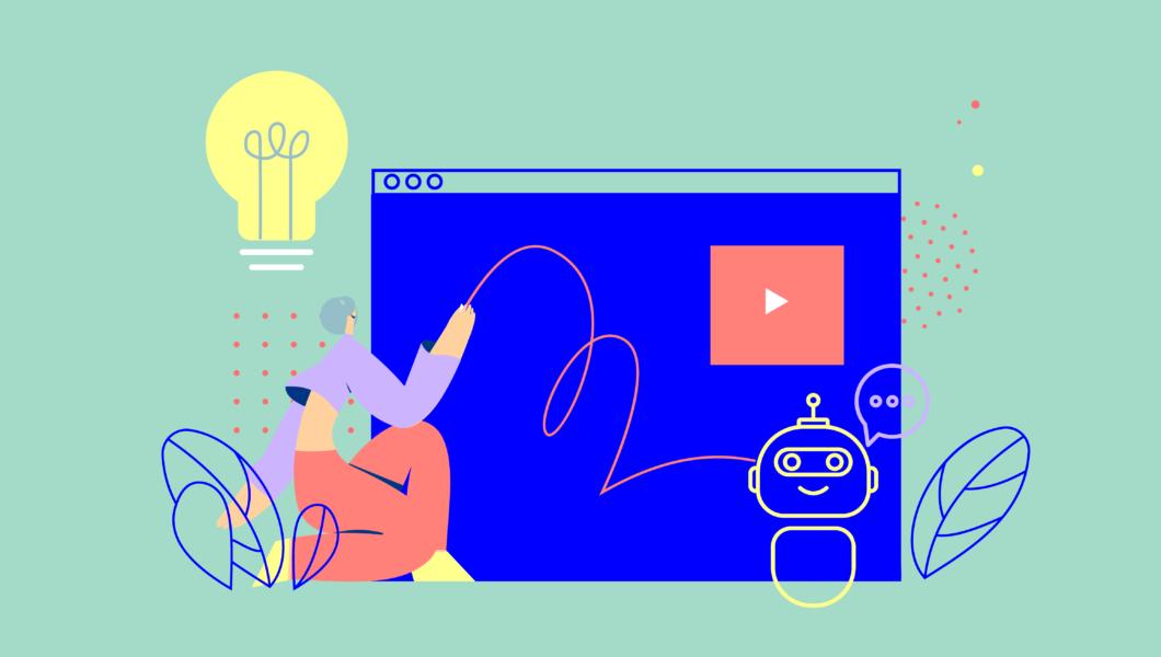 ilustracja, zielone tło a na nim ekran monitora z rysunkiem robota-chatbota