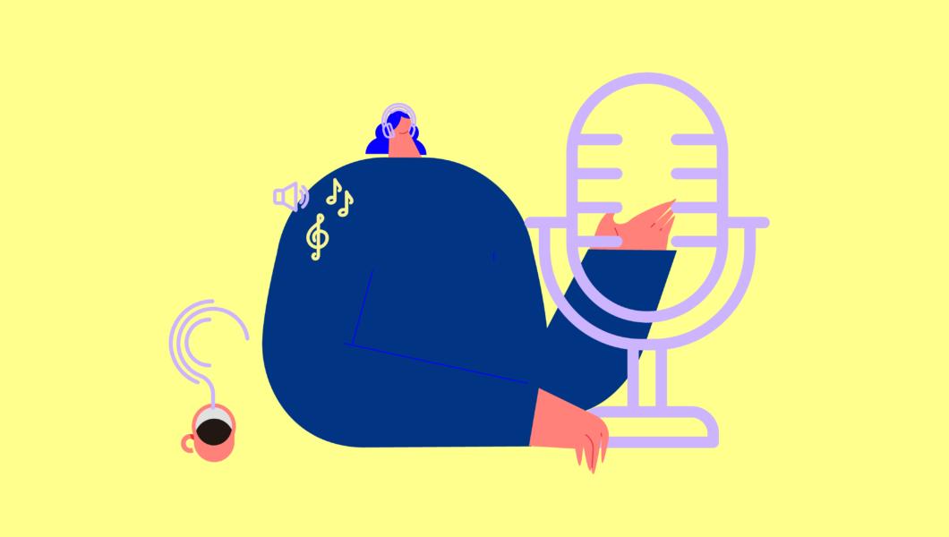 ilustracja, żółte tło a na nim granatowa postać mówiąca do mikrofonu