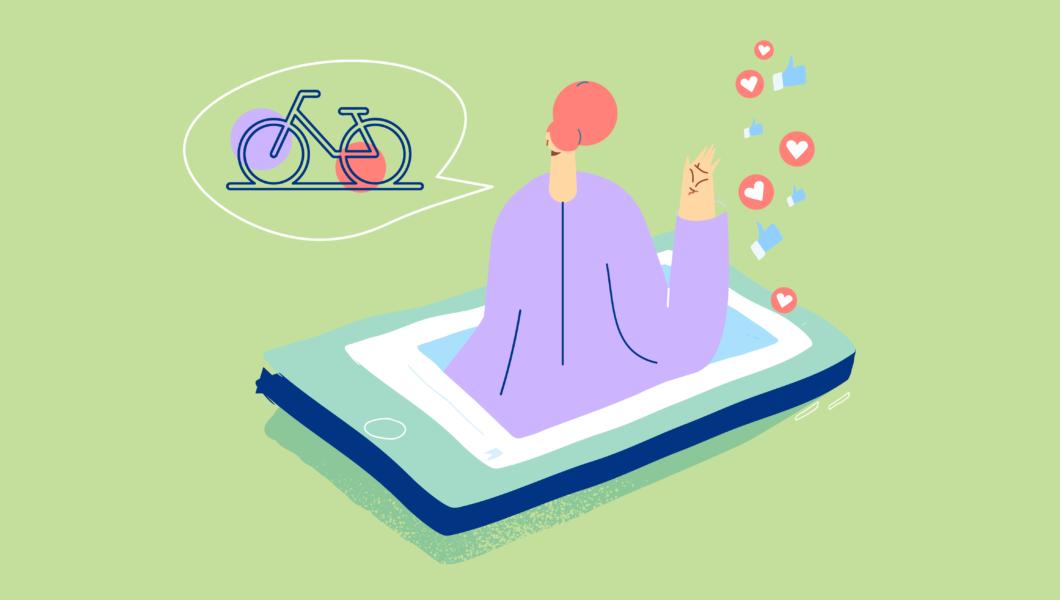 ilustracja, zielone tło, postać w fioletowej bluzce wychodzi z telefonu a za nią wylatują serduszka i like'i