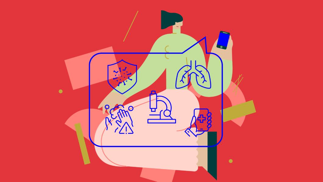 ilustracja, czerwone tło a nim postać w zielonej bluzce trzyma telefon, z którego wychodzą płuca, mikroskop, tarcza ochronna