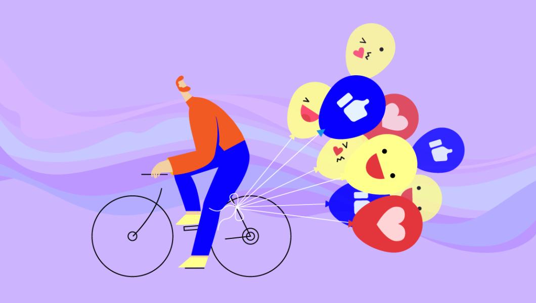 ilustracja, fioletowe tło, rudy mężczyzna w czerwonej koszulce jedzie na rowerze, ciągnie za sobą balony z emoji
