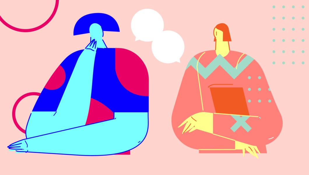 ilustracja, na różowym tle dwie rozmawiające ze sobą postacie, jedna niebieska, druga czerwona
