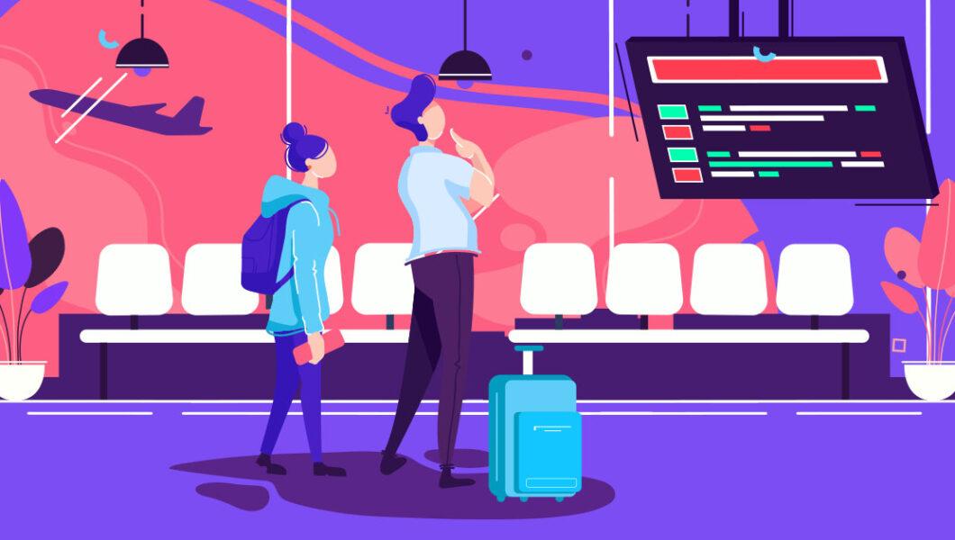 ilustracja w kolorach różowo-niebiesko-fioletowych, przedstawiająca parę turystów na lotnisku patrzącą na tablicę odlotów
