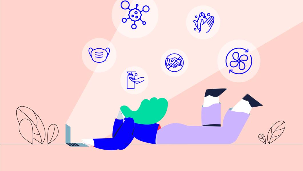 ilustracja, różowe tło, dziewczyna o zielonych włosach leży przez laptopem, którego wylatują ikony mycia rąk, środka bakteriobójczego i wirusa